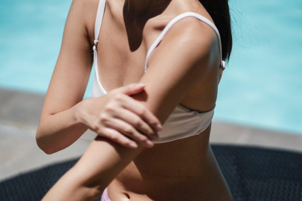 Woman getting sun tan