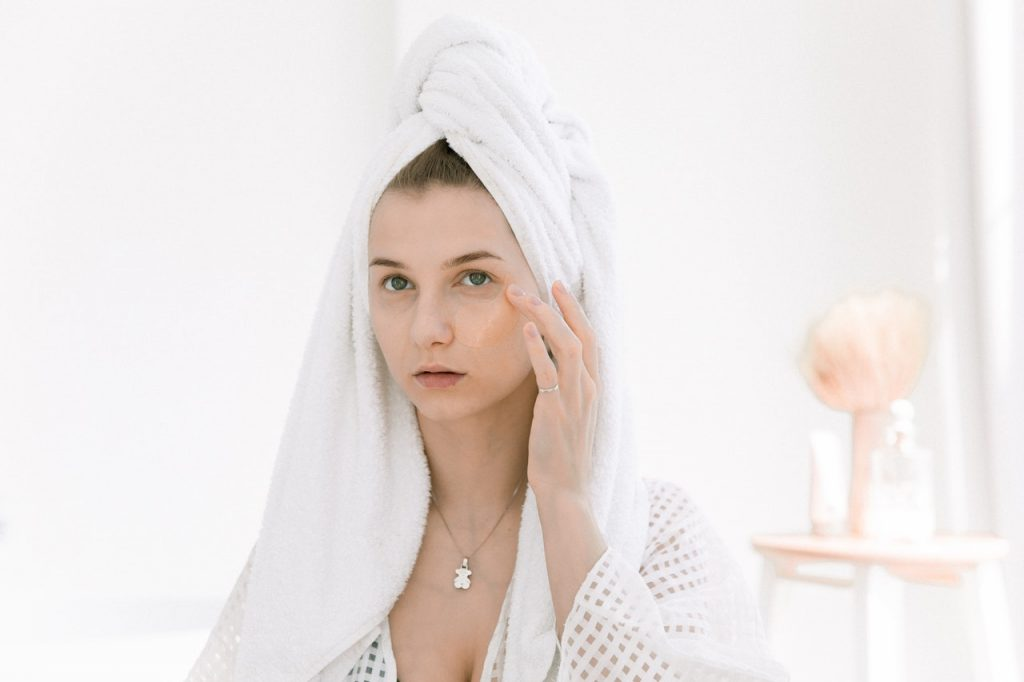 Woman doing her facial care routine